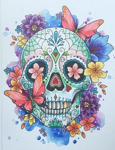 Sugar skull print, day of the dead, tattoo print, mexican sugar skull, watercolor art, tattoo flash, halloween art, skull painting