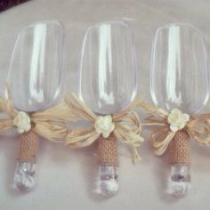 Could make these, too--Rustic Burlap Candy Scoopers  Candy Buffet set of 3 by FancyOrders, $25.00
