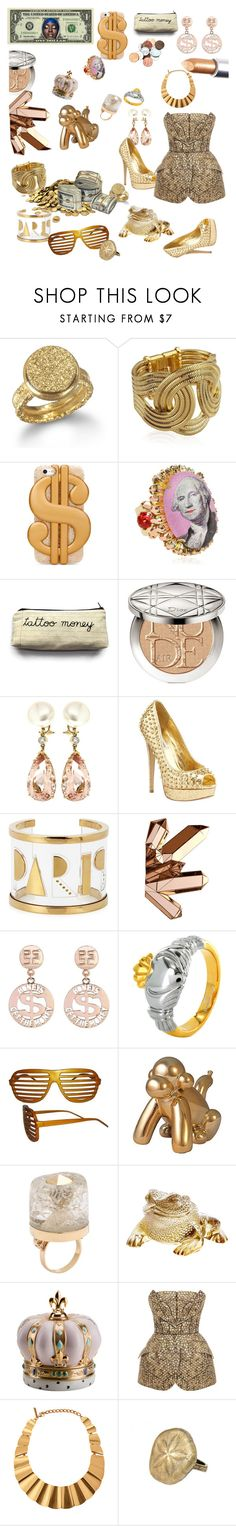 """""""Simply Golden"""" by prettyroses ❤ liked on Polyvore featuring Wendy Mink, Lara Bohinc, ban.do, Bijoux de Famille, Christian Dior, Valentin Magro, Steve Madden, Maria Francesca Pepe, Reflections and Ruffian"""