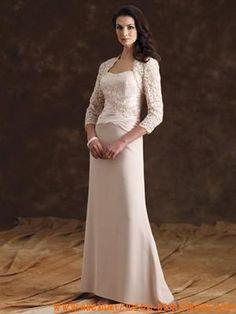Elegante Brautmutterkleider aus Satin mit Jäckchen Perlen v...