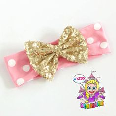 pink gold bow headband polkadot  gold  pink  by AKidsDreamBoutique
