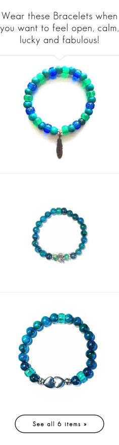 """""""Wear these Bracelets when you want to feel open, calm, lucky and fabulous!"""" by shop77spark on Polyvore featuring jewelry, bracelets, turquoise jewelry, heart bangle, heart shaped jewelry, hand crafted jewelry, turquoise bangle, blue turquoise jewelry, heart charm and green turquoise jewelry"""