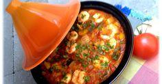 ... een heerlijke, gezonde tajine..... Nodig! 250 g scampi: ontdarmd en eventueel gepeld 1 blik gepelde tomatenin de winter/ een vi...