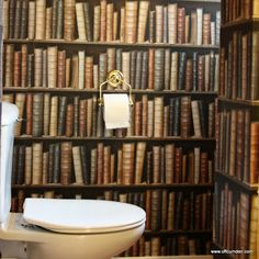 How to turn your toilet room into a library! How to turn your toilet room into a library! Wallpaper Toilet, Book Wallpaper, Feature Wallpaper, Wallpaper Decor, Bathroom Wallpaper, Small Toilet Room, Guest Toilet, Downstairs Toilet, Add A Bathroom