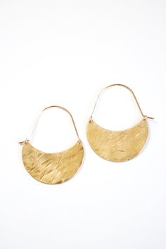 Hammered Brass Crescent Moon Hoop Earrings - 14k Gold Filled or Sterling Silver Wire