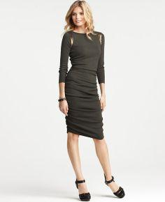Sequin Shoulder 3/4 Sleeve Dress