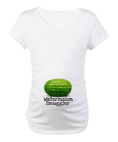 Take a look at this White 'Watermelon Smuggler' Maternity Tee by CafePress on #zulily today!
