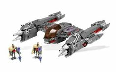 """LEGO Star Wars 7673 MagnaGuard Starfighter 431 Piece by LEGO. $84.99. Sides open to reveal pop-up launchers!. Back flips open to use the hidden flick-fire missile!. Includes 2 Magna DroidTM minifigures!. Measures over 11"""" (28cm) wide and over 10"""" (25cm) long!. Push lever forward to flip open the cockpit!. Carry out the commands of General Grievous! The skilled and silent Magna Droids™ are General Grievous' elite droid forces in the Clone Wars … and thei..."""