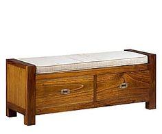 Banco de madera de mindi en poliéster y algodón - marrón