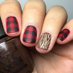 Buffalo plaid Buffalo plaid nails Red plaid nails Nail art Lumberjack nail art…