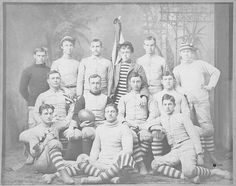 Studio portrait of the 1891 Centre College football team. Members identified as (top) E.H. Hudson, Lucien Beckner, W.T. Williams, T.L. Blayney, G.R. Boyer, E. VanWinkle; (middle) J.L. Allen, W.D. Berry (capt.), J.H. Turner, Eugene Cook; (bottom) M.D. Hardin, F.B. Douglas, A.C. VanWinkle.