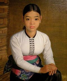 Me-Hin, White Tai of Chin-Neua (Northeast) Vietnam - - Oil on canvas - by Jean Despujols - Friends of the Algur Meadows Museum of Art at Centenary College in Shreveport, LA Rose Jeans, Female Portrait, First World, Louisiana, Art Museum, Portrait Paintings, Portraits, Brush Strokes, Poet