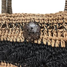 """Amazon.com: Straw Crochet Crossbody Tote Bag With 1"""" Coconut Shell Button Ornament-Black: Shoes"""