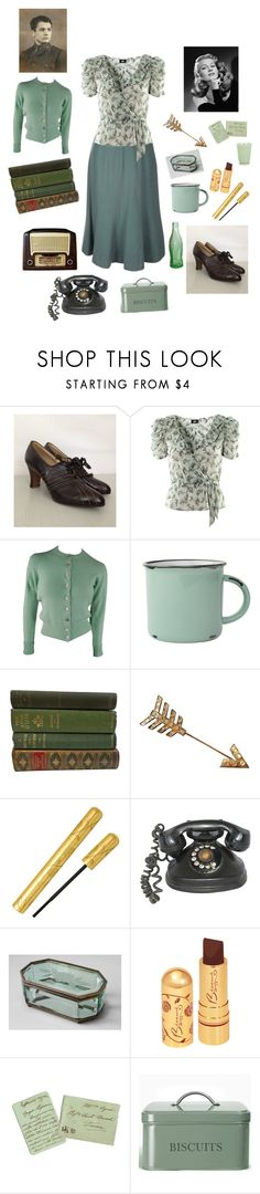 """Sea foam Green Vintage"" by peculiarleah ❤ liked on Polyvore featuring Olive, H&M, Chanel, canvas, Garden Trading, vintage, antique, 1940s and WWII"