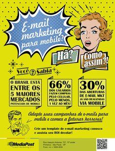Campanha vintage apresentando dados sobre e-mail marketing para plataformas mobile.