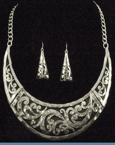 Art Deco Silvertone Necklace with Earrings...$24 @ www.whimzaccessories.com