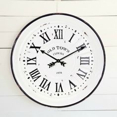 Roman Numeral Oversized Wall Clock Glass Milk Bottles, Milk Glass, Antique Farmhouse, Farmhouse Decor, Teapot Birdhouse, Potted Lavender, Farmers Market Sign, Finding Treasure, Old Clocks
