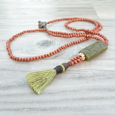 Long Tassel Necklace Brown Wood Beads and Olive by GypsyIntent, $67.00