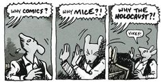 """Artie deals with questions about his book """"Maus""""."""