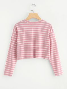 Shop Contrast Trim Striped Tee at ROMWE, discover more fashion styles online. Cute Comfy Outfits, Cute Outfits For School, Pretty Outfits, Stylish Outfits, Cool Outfits, Girls Fashion Clothes, Teenage Girl Outfits, Teen Fashion Outfits, Half Shirts