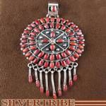Southwestern Jewelry Sterling Silver Red Oyster Shell Pendant
