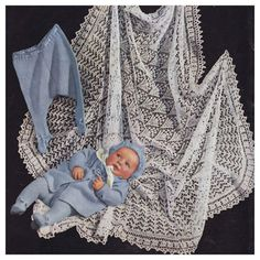 "Instant PDF Download Vintage Row by Row Knitting Pattern to make Baby Bebé A 52"" Heirloom Square Lace Christening Shawl Blanket & Pram Set"