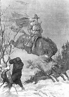 Odin continued to hunt in Swedish folklore. Illustration by August Malmström.