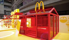 """A pop-up toy museum design in Shanghai that presents over 2500 pieces of toys from all over the world and celebrate McDonald's entrance to China mainland for 25 years.Original design from the idea """"TOY FACTORY THAT MAKES HAPPINESS"""" and the elements of f… Trade Show Design, Mall Design, Stand Design, Event Design, Exhibition Booth Design, Exhibition Display, Muji Hut, Shop Display Stands, House Of Beauty"""