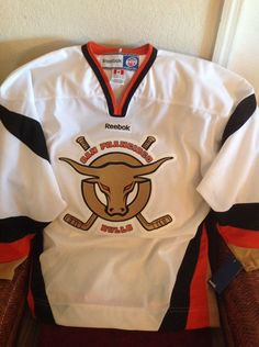4849e9724 San Francisco Bulls White New With Tags Hockey ECHL Jersey SIZE L MENS in  Sports Mem
