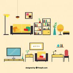 Muebles para sala de estar Vector Gratis