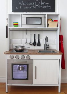 Ikea kids kitchen diy play kitchen one kids toy among many that are fun and inexpensive modern home interior decoration ideas Ikea Toy Kitchen Hack, Diy Kids Kitchen, Mini Kitchen, Kitchen Hacks, Kitchen Redo, Kitchen Ideas, Kitchen Refrigerator, Kitchen Updates, Kitchen Small