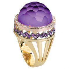 Amatista, zafiro y anillo de diamantes por Falcinelli  de Falcinelli