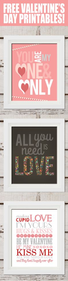 Free Valentines Day Printables - frame and hang for cute diy Valentine's Day decor.