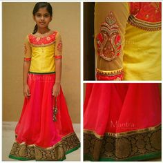 43 best images about Pattu pavadai Baby Frock Pattern, Frock Patterns, Kids Dress Patterns, Pattern Sewing, Kids Ethnic Wear, Kids Blouse Designs, Kids Lehenga, Skirts For Kids, Kids Frocks
