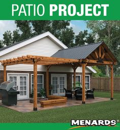 pergola garten Take your outdoor living space to the next level with this OZCO Patio Project! It features a sheltered gazebo, an attached pergola and a large Riverfront patio. Patio Diy, Garden Gazebo, Backyard Patio Designs, Backyard Pergola, Patio Roof, Pergola Plans, Pergola Kits, Pergola Ideas, Patio Ideas