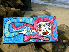 """Lorelie The Mermaid Hitching a Ride"" an original mixed media painting on canvas-Tracey Ann Finley"