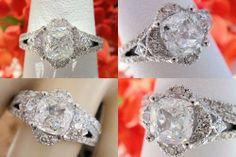 1.81CT Cushion Diamond Pave Engagement Ring EGL USA Cert/Appr $12k