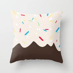 Hot chocolate with whipped cream and sprinkles  Throw Pillow