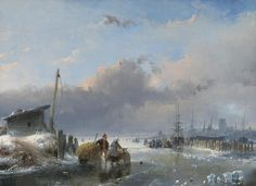 Andreas Schelfhout - Winterlandschap met gezicht op Dordrecht (1845)