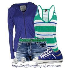 """""""Blue & Green Sporty Spring"""" by steffiestaffie on Polyvore"""