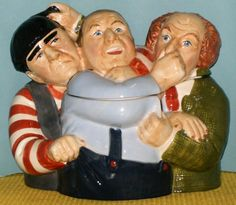 THREE STOOGES HEAD COOKIE JAR, BY CLAY ART  Manufa