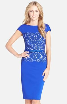 Tadashi Shoji Belted Embroidered Neoprene Sheath Dress available at #Nordstrom