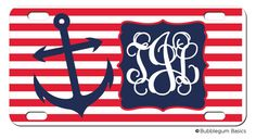 Personalized Nautical Navy Red Stripes Anchor by iselltshirts, $15.00