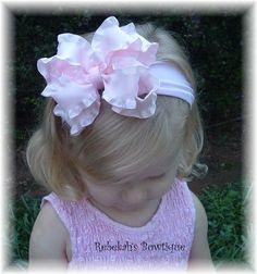 Light Pink Double Ruffle Hair Bow Hairbow by RebekahsBowtique, $10.95