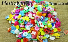 200PCS 60-80Pattern mixed  kids plastic button for sewing buttons clothes accessories crafts P-200 $5.99