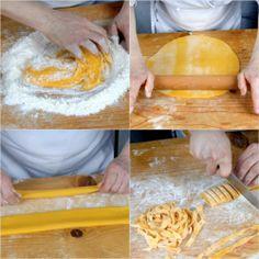 Pasta all'uovo. A giugno si va al mulino a prendere la farina appena macinata, quella dell'ultimo grano raccolto per fare le tagliatelle!