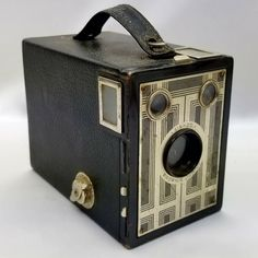 1 Vintage Brownie Junior Jr Six 20 Antique 620 Film Box Camera Black Silver Art Deco Photography #Kodak