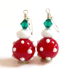 Christmas Earrings Holiday Earrings Red White by Elegencebyelaine, $25.00
