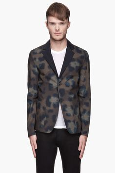 Green animal spot print Deconstructed reversible Blazer by Kenzo. (It's reversible, you guys!!)