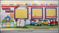 2 Premade Paper Pieced Train Scrapbook Pages By Babs Kids Scrapbook, Scrapbook Pages, Scrapbooking Ideas, Scrapbook Layouts, Treasure Boxes, Layout Inspiration, Paper Piecing, Paper Crafts, Kids Rugs